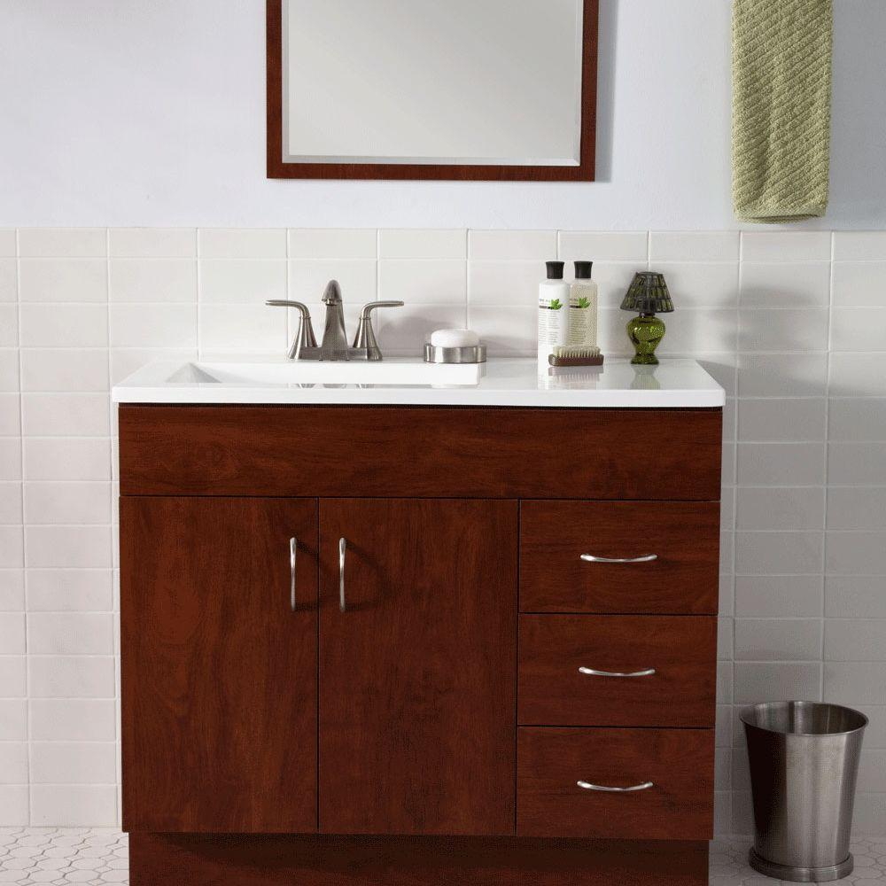 ST PAUL Vanguard 30 In. Vanity In Hazelnut With AB Engineered Composite  Vanity Top In White And Mirror 954508- PIC 2